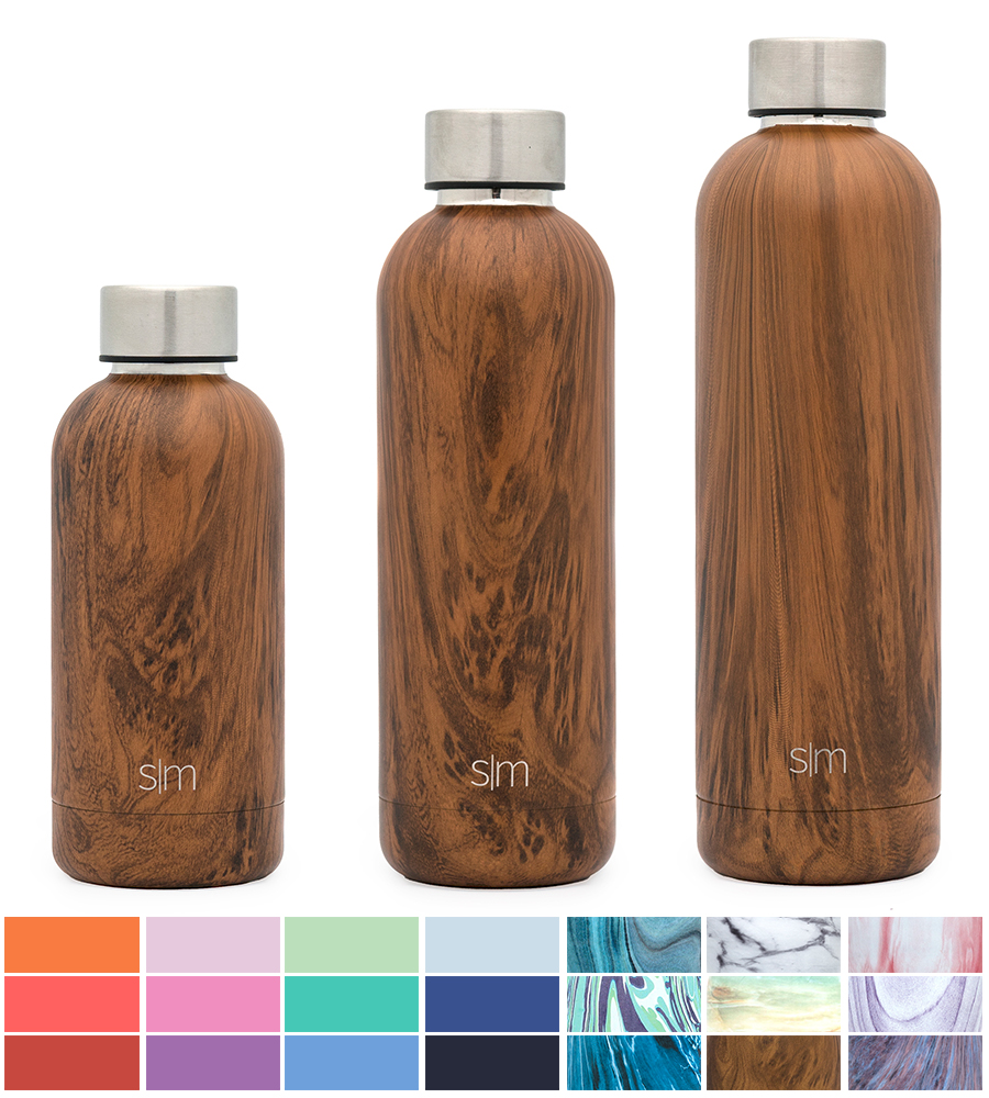 Simple Modern 17oz Bolt Water Bottle Stainless Steel Hydro Swell Flask Double Wall Vacuum Insulated Reusable Brown Small... by Simple Modern