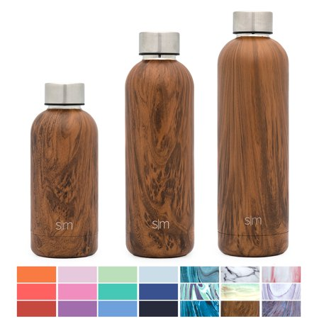 Simple Modern 17oz Bolt Water Bottle - Stainless Steel Hydro Swell Flask - Double Wall Vacuum Insulated Reusable Brown Small Kids Metal Coffee Tumbler Leak Proof Thermos - Wood Grain (16 Oz Hydro Flask)