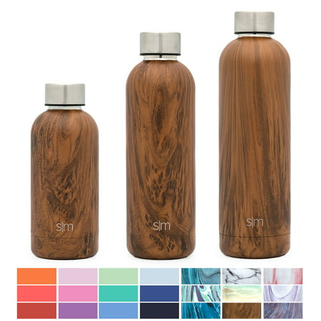 Simple Modern 17oz Bolt Water Bottle - Stainless Steel Hydro Swell Flask - Double Wall Vacuum Insulated Reusable Brown Small Kids Metal Coffee Tumbler Leak Proof Thermos - Wood Grain