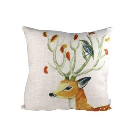 Pal Fabric Nature Animal Series Deer and Bird Blended Linen Square Pillow Cover 18x18 inch