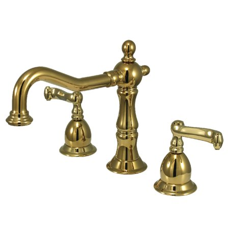 Widespread Bath Faucet Polished Brass (Kingston Brass KS1972FL 8-Inch Widespread Lavatory Faucet, Polished)