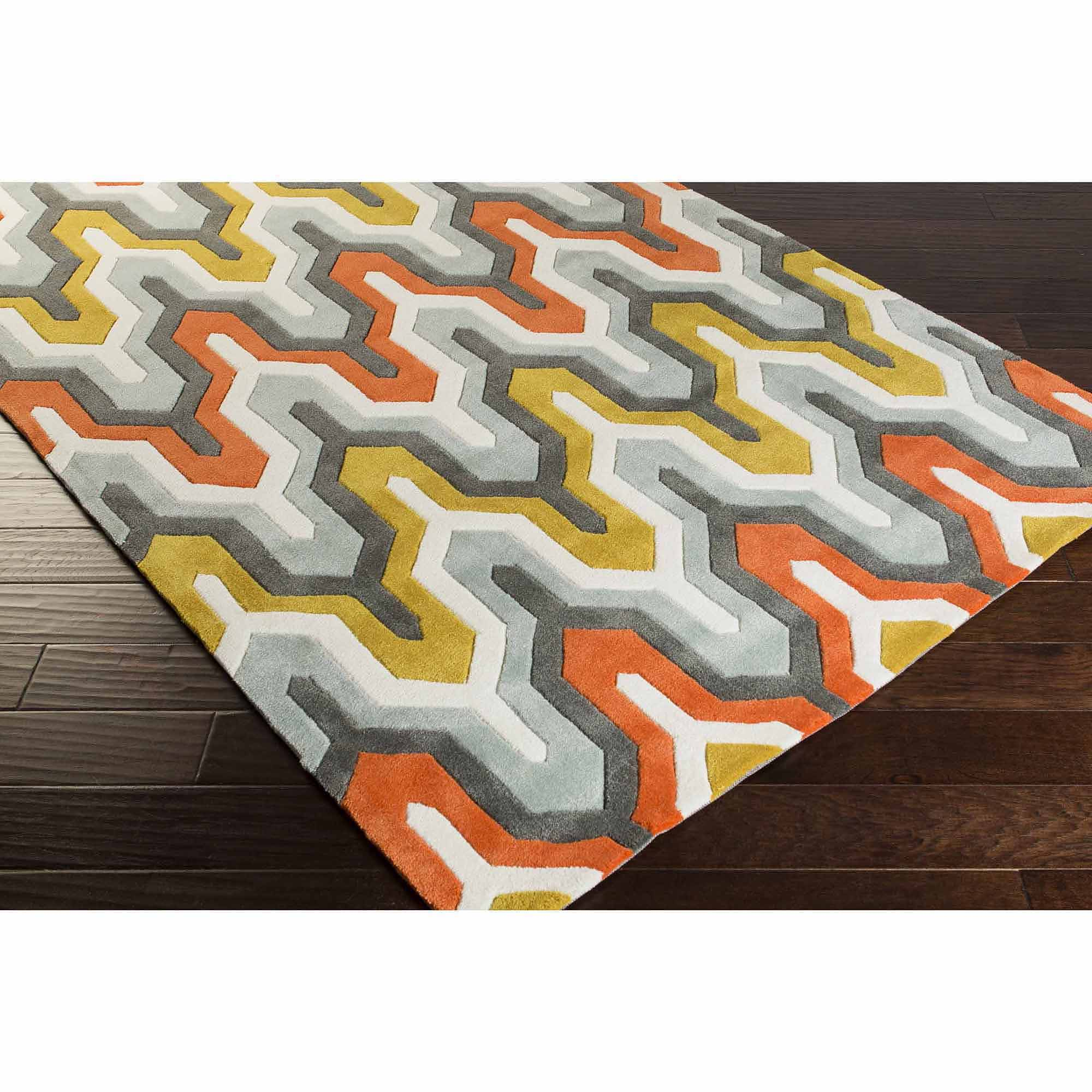 Art of Knot Orleans Hand Tufted Plush Geometric Area Rug, Poppy