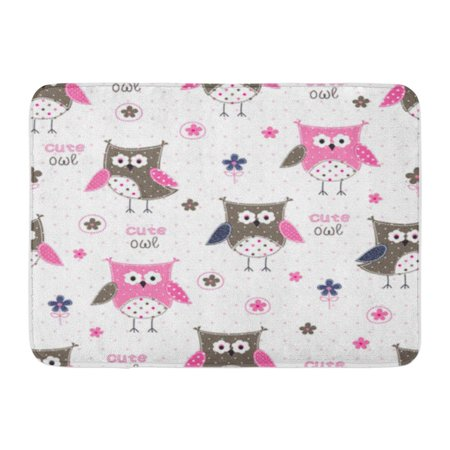 SIDONKU Pink Pattern Colorful Cute Owls Lettering and Floral Blue Doormat Floor Rug Bath Mat 30x18 inch