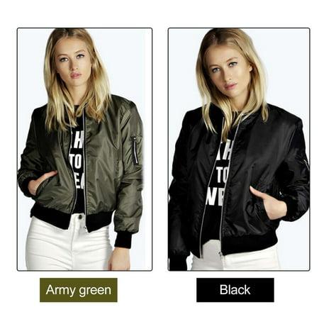 Solid Color Fashion Women Bomber Jacket Basic Coats Zipper Short Baseball Jacket