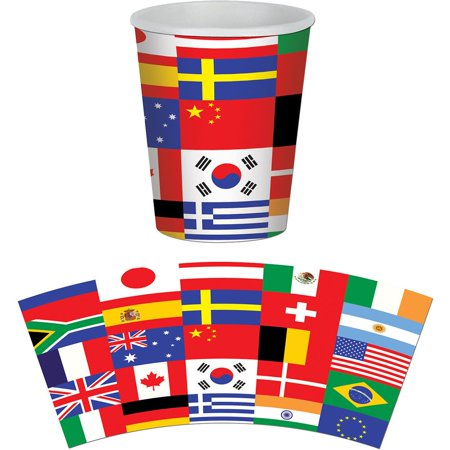 International Party 9Oz Hot/Cold Cups (8 Pack) - Party Supplies