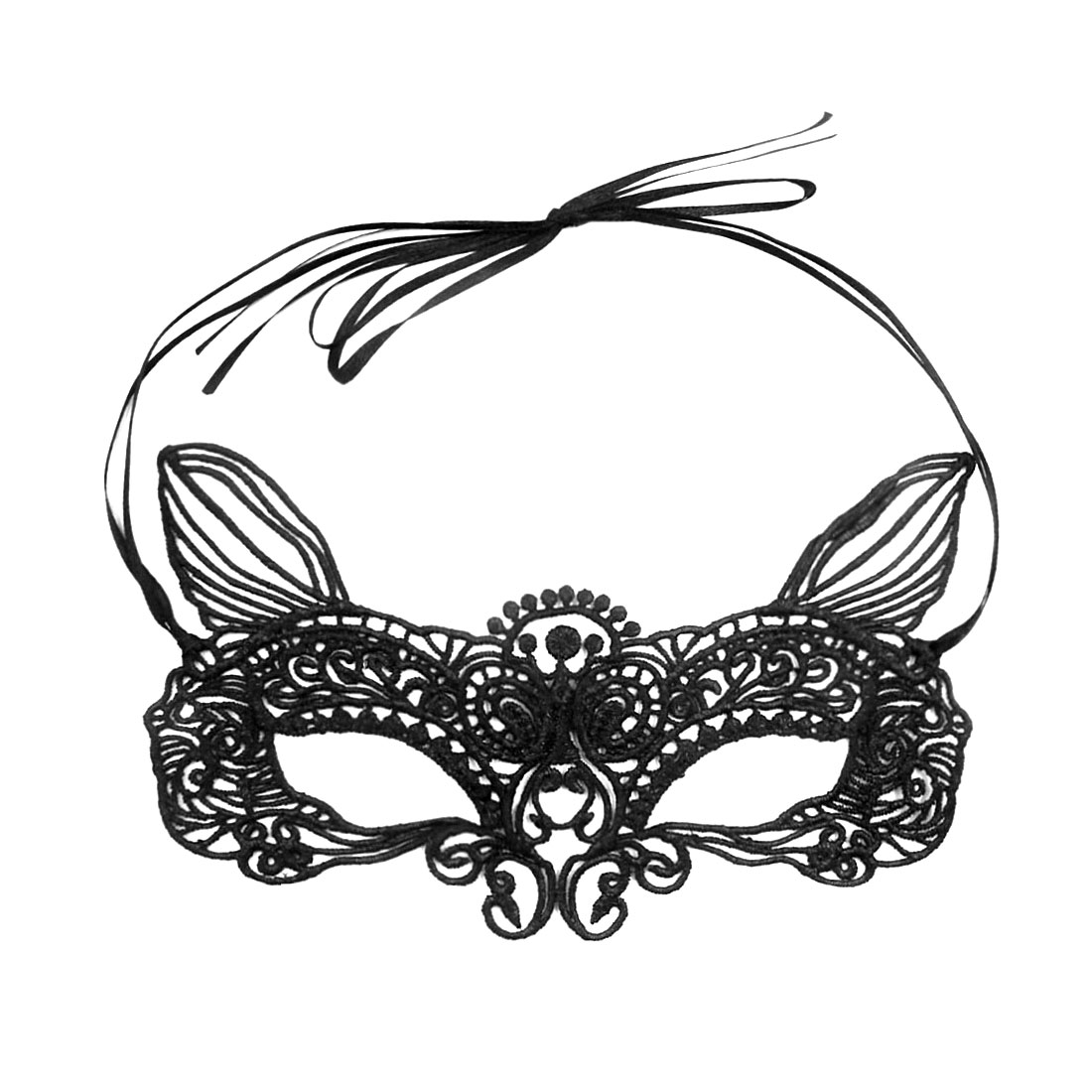 Women's Masquerade Crochet Self Tie Cat Ears Party Eye Mask Black