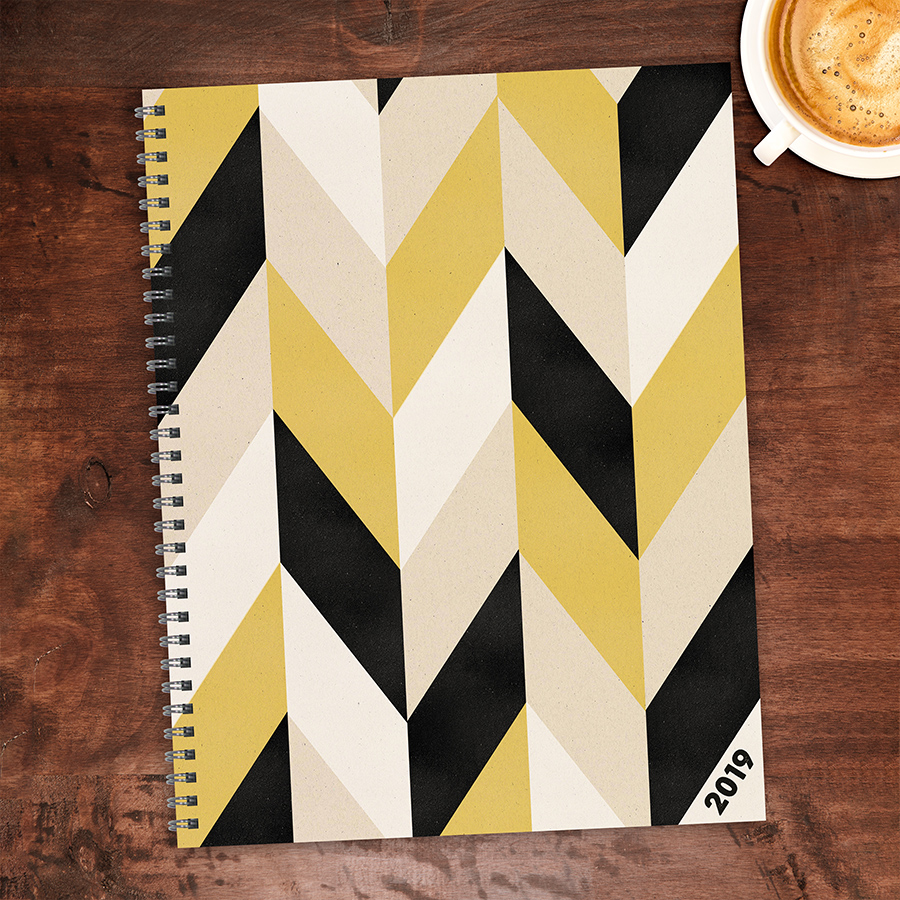 """2019 Black and Kraft Geometric 9"""" x 11"""" January 2019-December 2019 Large Daily Weekly Monthly... by TF Publishing"""
