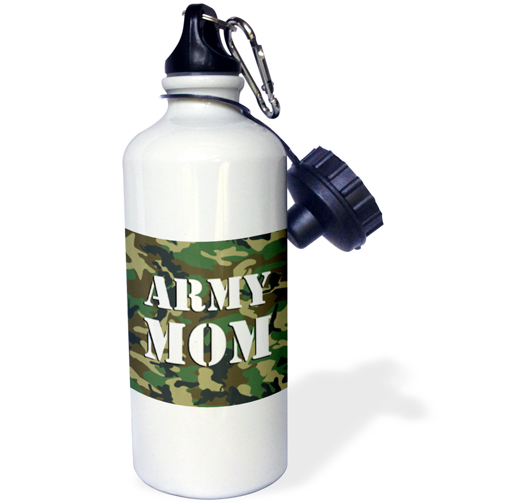 3dRose Army Mom Green Camouflage , Sports Water Bottle, 21oz
