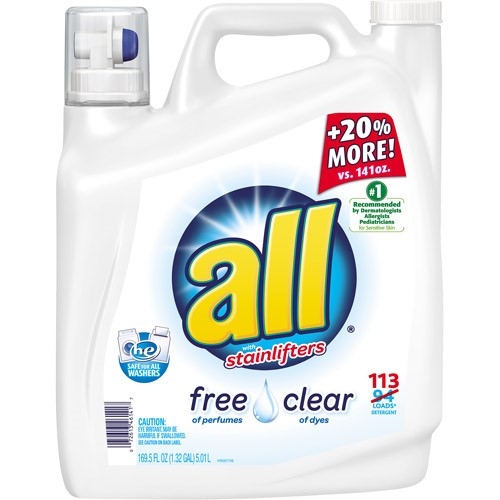 All Stainlifters Fre Clear HE Laundry Detergent, 169.6 Oz