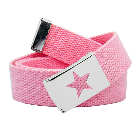 Girl's Star Silver Flip Top School Uniform Belt Buckle with Canvas Web Belt Small Pastel Pink