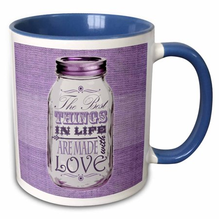 3dRose Mason Jar on Burlap Print Purple - The Best Things in Life are Made with Love - Gifts for the Cook - Two Tone Blue Mug, (Best Made Designs Llc)