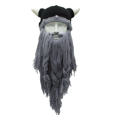 Viking Beard Beanie Hat Horns Crazy Winter Ski Cap Knitted Hat Cosplay Party Decoration Light grey - Viking Winter Hat