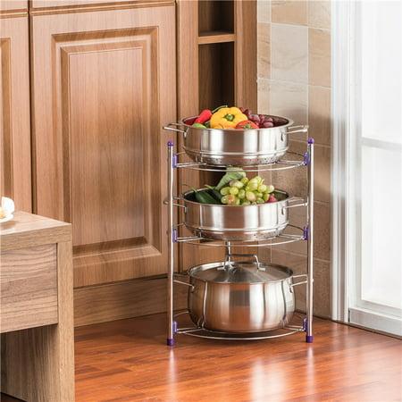 Kitchen Pot Rack Crock Pot Shelf Chrome-Plated 3 Tier ...