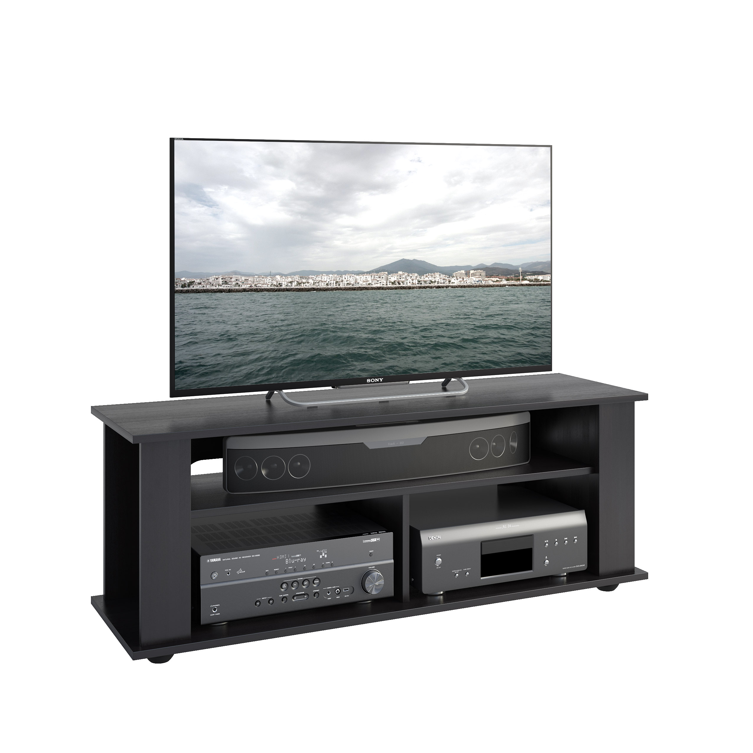 """CorLiving Bakersfield TV / Component Stand in Ravenwood Black, for up to 55"""" TVs"""