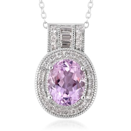 925 Sterling Silver Kunzite White Zircon Pendant Necklace