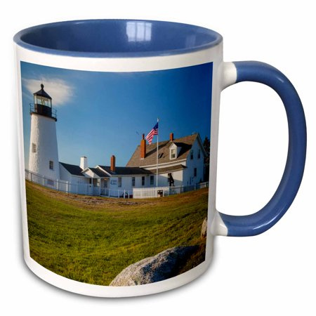 3dRose Pemaquid Point Lighthouse near Bristol, Maine, USA. - Two Tone Blue Mug, 11-ounce