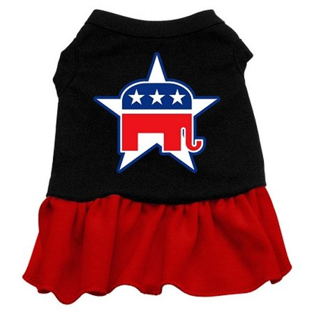 Image of Mirage 58-15 SMBKRD Republican Screen Print Dog Dress Black With Red Sm