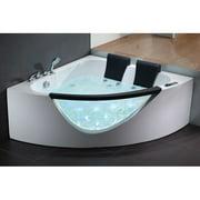 EAGO 61'' x 61'' Double Seat Corner Whirlpool Bathtub