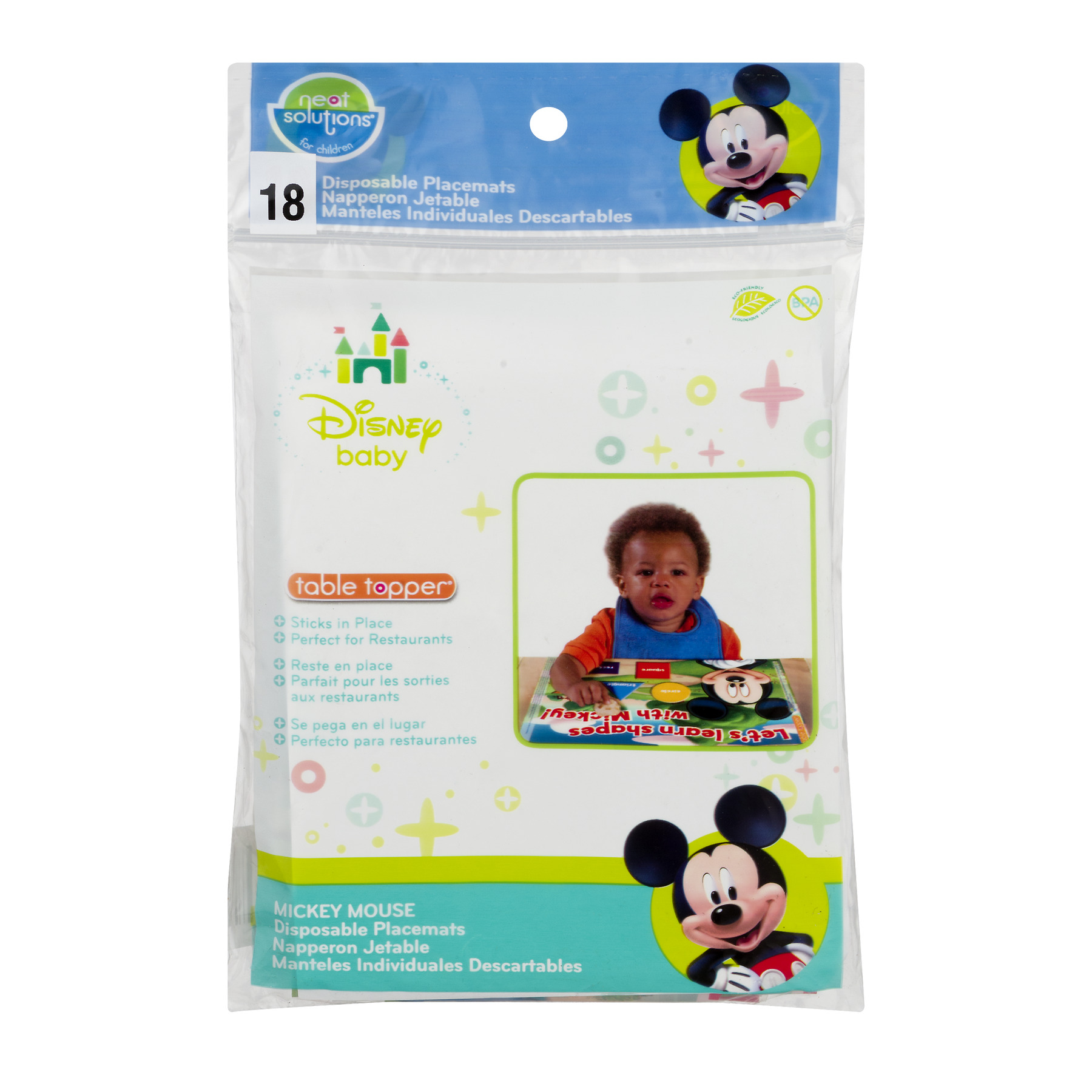 Disney Neat Solutions Table Topper Disposable Placemats for Children, 18 Count