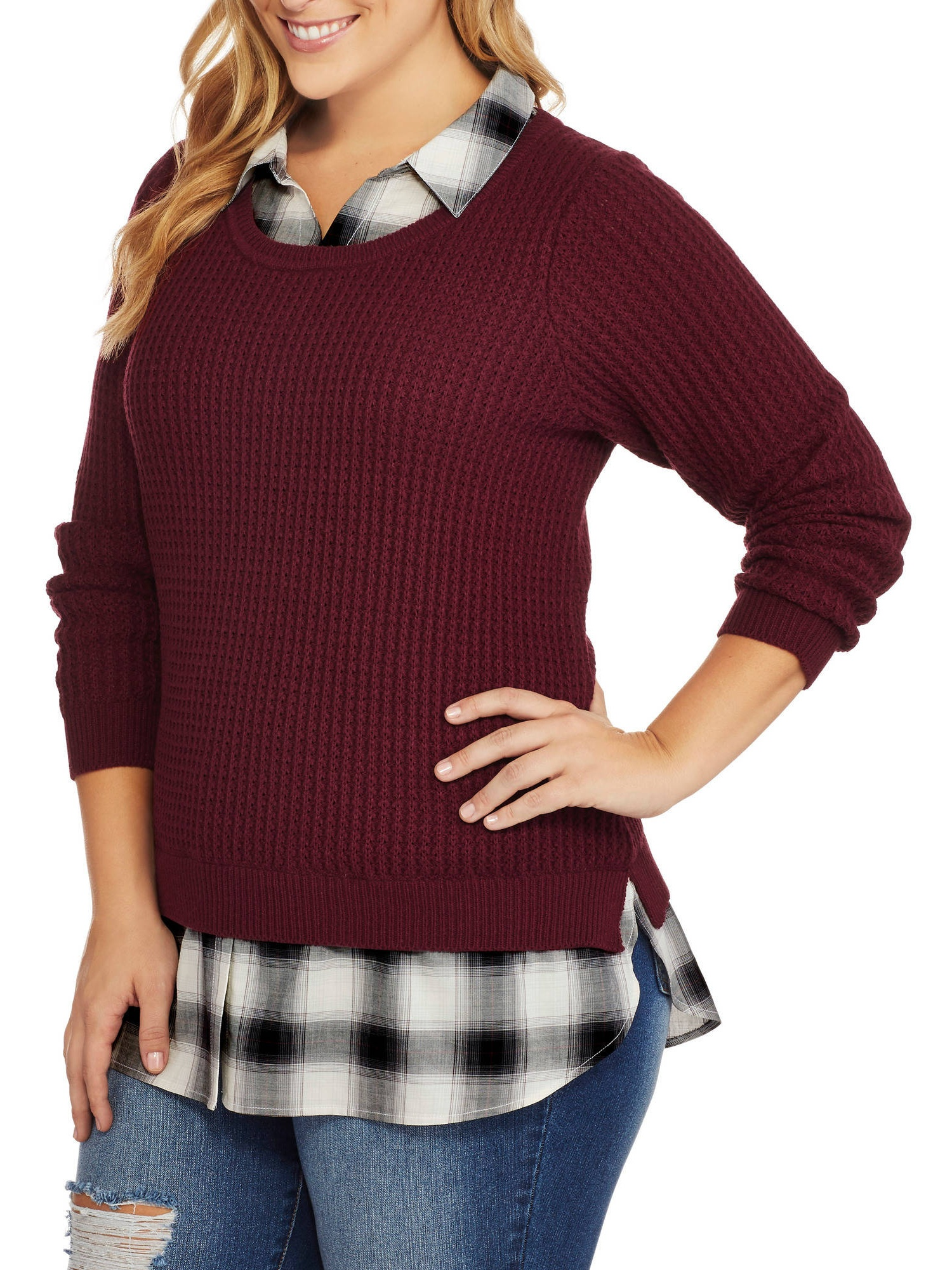 Faded Glory Womens Plus Twofer Sweater With Built In Collared