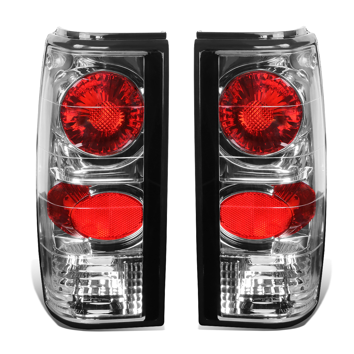 For 83-94 Chevy S10 / GMC S15 Pair of Chrome Housing Clear Lens Brake Tail Lights 84 85 86 87 88 89 90 91 92 93