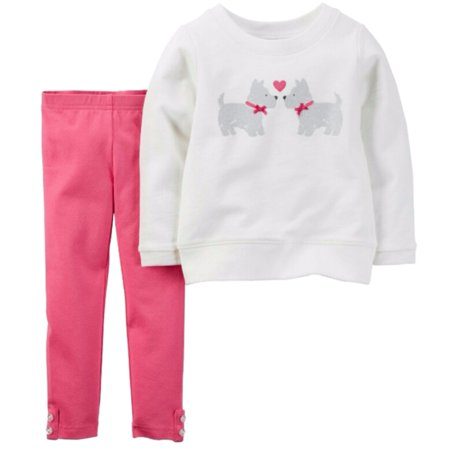 Carters Infant Girls Pink & White Yorkie Dog 2 Piece Outfit Shirt & Leggings