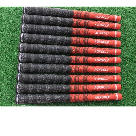 AGXGOLF Mens Multi-Compound (Corded) Golf Grips: 9 Pack w/Tape Strips; Black/Red: (Golf Pride Type) Mid Size best