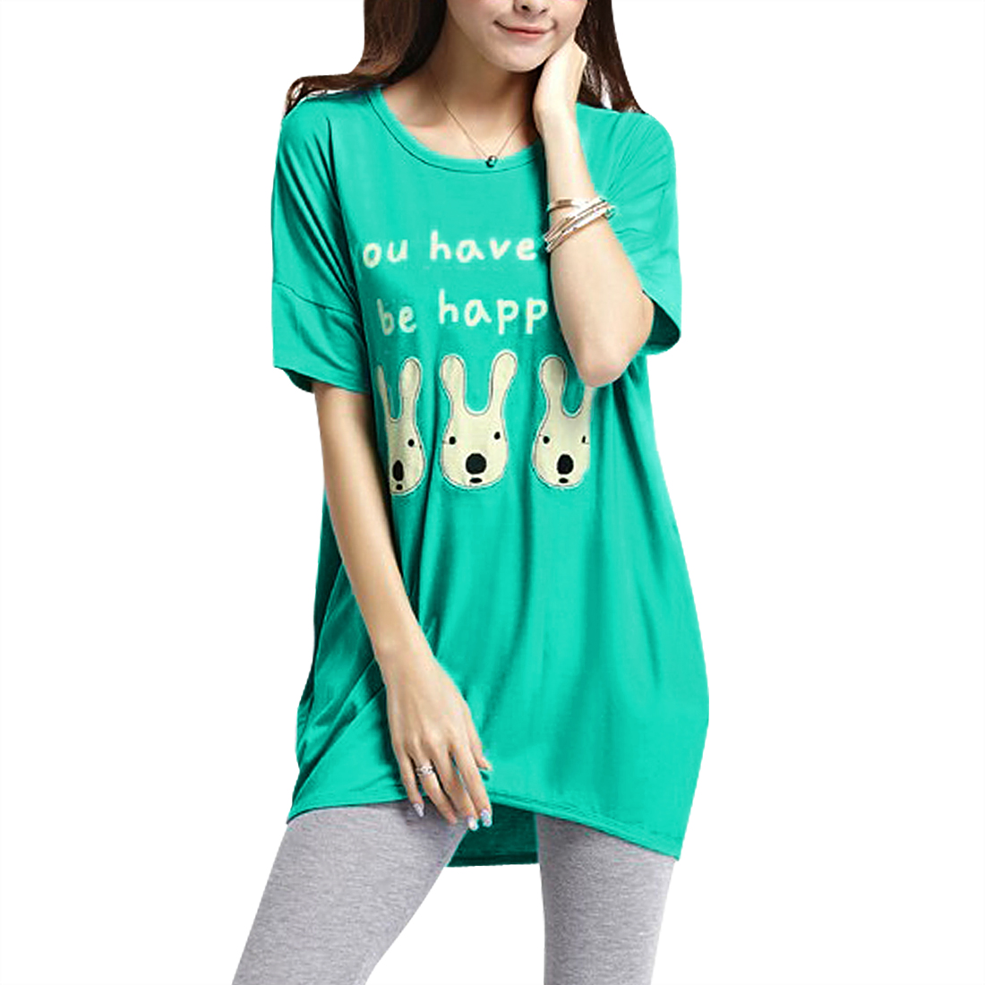 Women's Casual Letters Pattern Pullover Tunic T-Shirt Green (Size M / 8)