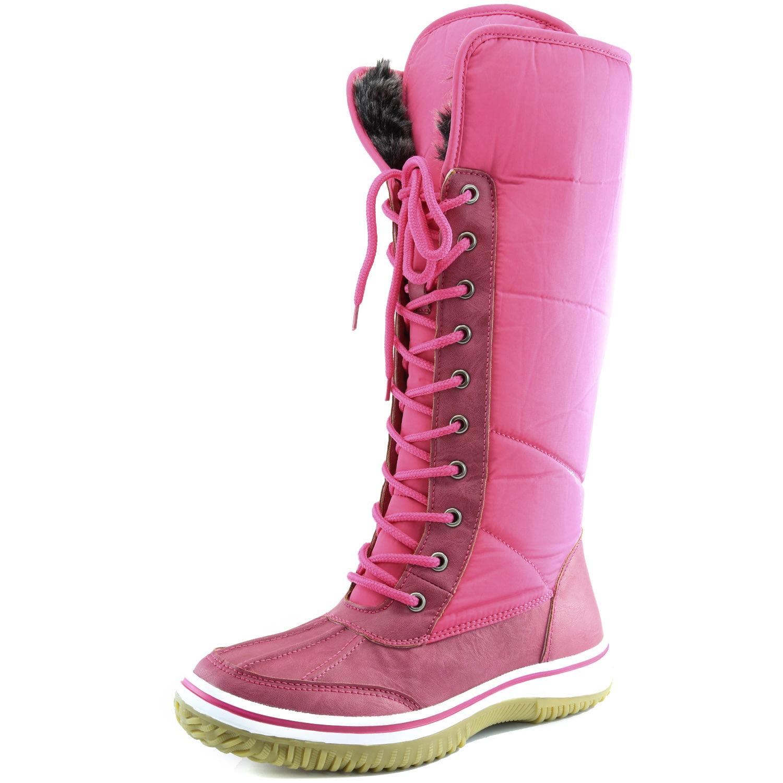 Women's DailyShoes Knee High 2-Tone Lace Up Décor Zipper Cowboy Warm Fur Water Resistant Eskimo Snow Boots by