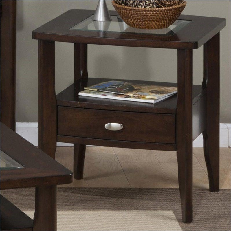 Jofran 827 Series Square End Table with Small Drawer in Montego Merlot by Jofran