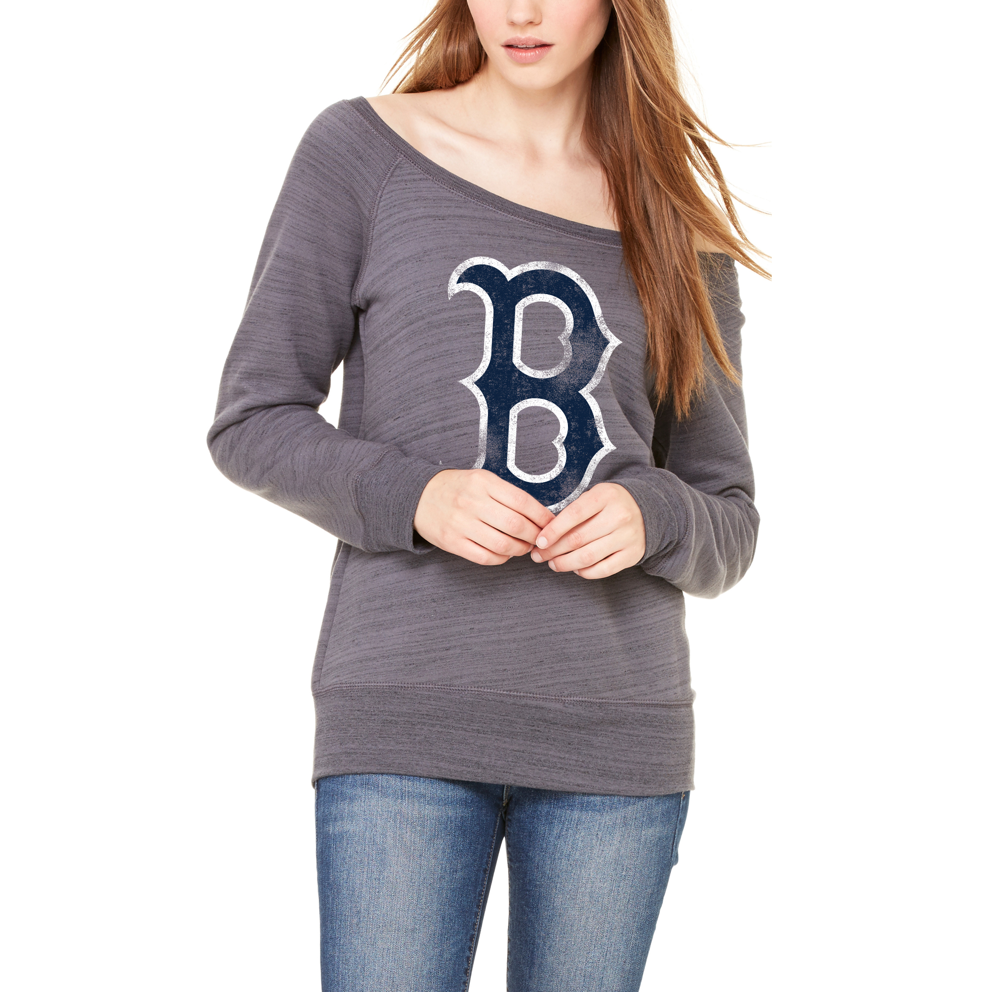 Boston Red Sox Let Loose by RNL Women's Game Day Wide Neck Sweatshirt - Dark Gray Marble