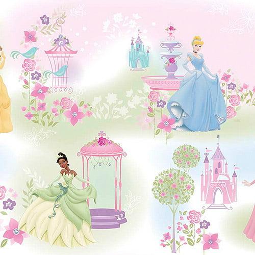 Creative Cuts Cotton Fabric, Disney Princess Pastel Garden Print, Pink