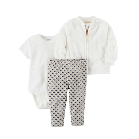 Carters Infant Girls Baby Outfit Plush White Zip Sweater Bodysuit & Gold Pants