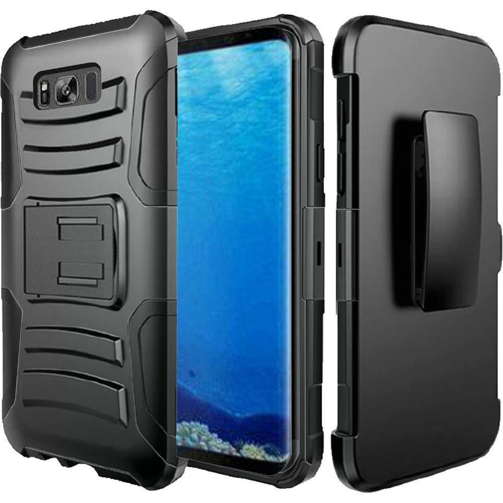 Samsung Galaxy S8 Case - Wydan Hybrid Rugged Kickstand Holster Belt Clip Case Hard Protective Heavy Duty Cover Black on Black