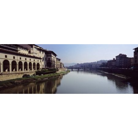 - Buildings along a river Uffizi Museum Ponte Vecchio Arno River Florence Tuscany Italy Poster Print