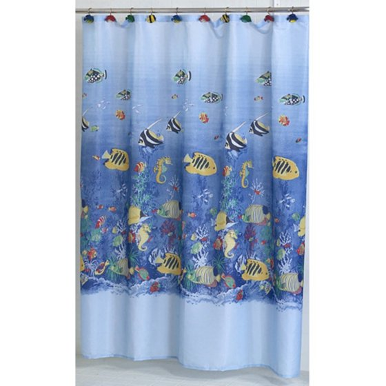 Carnation Home Fashions Tropical Sea Fish Fabric Shower Curtain ...