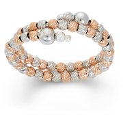 Rhodium and 14kt Rose Gold-Plated Sterling Silver DC Bead Ring
