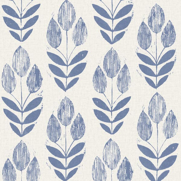 Scandinavian Blue Block Print Tulip Wallpaper
