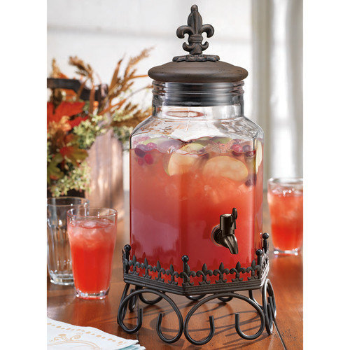 Home Essentials Drink Dispenser with Fleur De Lis Top on Scroll Stand