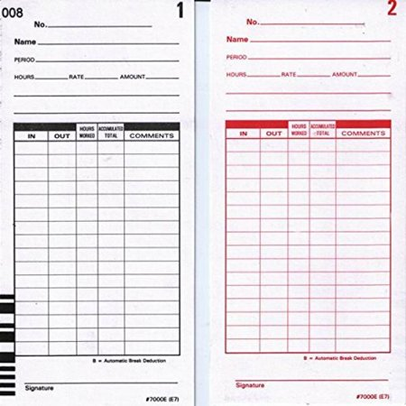 500 e7 time cards for the lathem 7000e and 7500e time clock card dimensions 3375 - Time Card Clock
