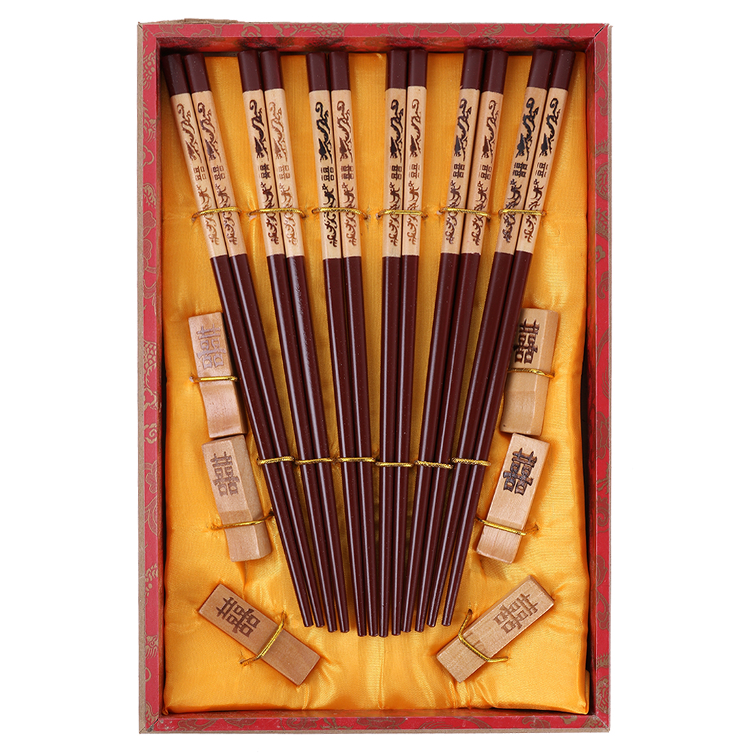 Casa-J Chinese Handmade Vintage Wood Chopsticks Set In Gift Box