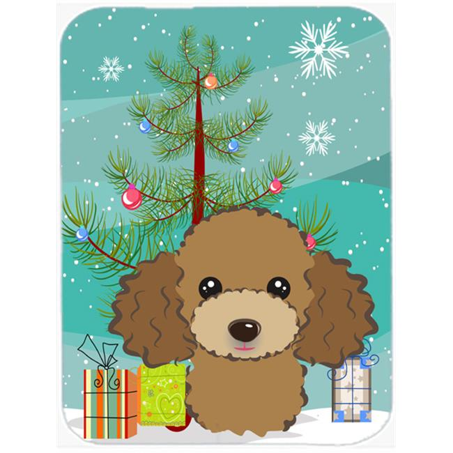 Christmas Tree And Chocolate Brown Poodle Mouse Pad, Hot Pad & Trivet