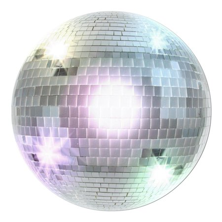 Club Pack of 24 Metallic Silver Retro 70's Themed Disco Ball Cutout Party Decorations 13.5