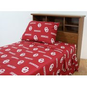 Oklahoma Sooners 100% cotton, 3 piece sheet set - flat sheet, fitted sheet, 1 pillow case, Twin XL, Team Colors