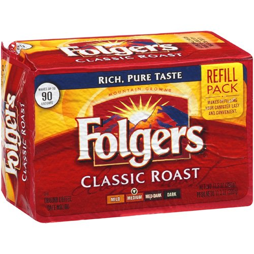 Folgers: Classic Roast Ground Medium Coffee Refill Pack, 11.3 oz