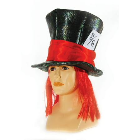 Mad Hatters Black Top Hat w Attached Red Hair - Adult One Size - Mad Hatter Hats Cheap