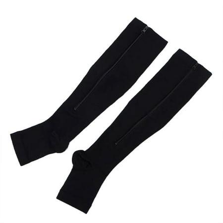2Pcs Compression Socks for Men & Women with Open Toe, Best Leg Support Stocking 15-20mmHg Fit for Running, Nurses, Shin Splints, Flight Travel & Maternity