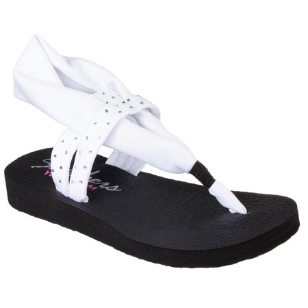 24e8898474d6 Skechers 38612 WHT Women s MEDITATION-SHOOTING STAR Sandals ...