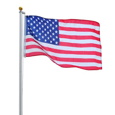 Yescom 25 FT Upgraded Sectional Aluminum Flagpole 15 Gauge 24-30mph 3'x5' US American Flag Ball Fly 2 Flags Outdoor