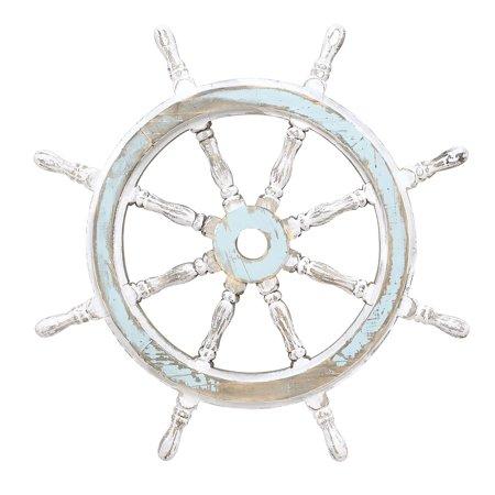 Decmode Large White And Aqua Wood Ship Wheel Wall Decor